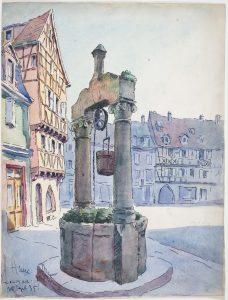 Jean-Jacques Waltz dit Hansi, Colmar, Puits de la place des Dominicains, 1935, Lavis d'aquarelle et encre de Chine sur papier