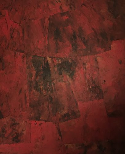 Serge Poliakoff, Composition abstraite - Rouge orange vert, 1963, huile sur toile