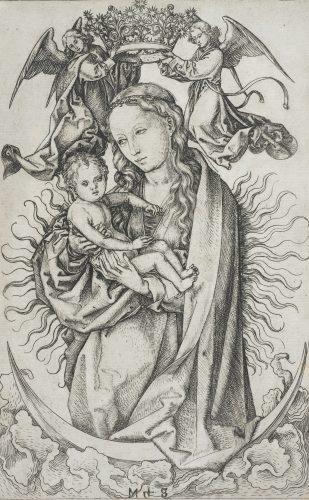 Martin Schongauer, Vierge à l'Enfant couronnée par deux anges, 1470-1475, gravure au burin sur cuivre