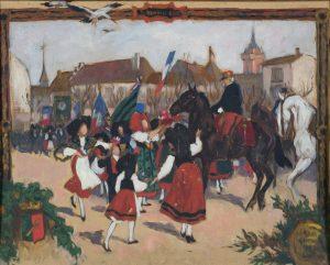 7.Anonyme (Alsace), Entrée du Général de Castelnau à Colmar le 22 novembre 1918 (au revers, Étude de cavalier à terre), 1ere moitié 20e siècle, huile sur carton, legs Victor Huen, 1947