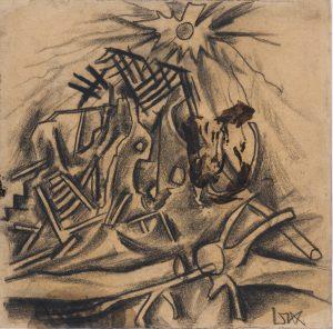 2.Otto Dix (Untermhaus-Gera, Allemagne, 1891 - Singen, Allemagne, 1969), Haus mit Bäumen und Sonne (Maison avec arbres et soleil), 1916, crayon noir sur papier brun, achat réalisé avec le soutien du Fonds Régional d'Acquisition pour les Musées (État / Conseil régional d'Alsace), 1994