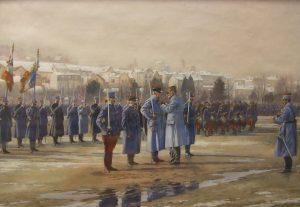 6.Victor Huen (Colmar, 1874 ; Nancy, 1939), Décoration de l'adjudant Hansi à Epinal le 18 janvier 1918, 1919, crayon graphite et gouache sur papier