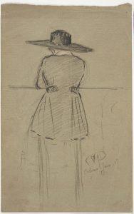 1.Marie-Berthe Molly (Colmar, 1865-1945), Portrait de femme de dos, 1917, crayon noir, rehauts de pastel ou de crayon de couleurs sur papier