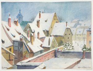 Jean-Jacques Waltz dit Hansi, Toits sous la neige, 1909, Lavis d'aquarelle sur papier, dessin sous-jacent au crayon graphite, Musée Unterlinden, Colmar