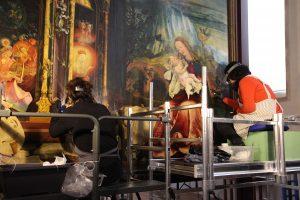 Restauration du Retable d'Issenheim - Intervention sur les panneaux du Concert des Anges et de la Nativité
